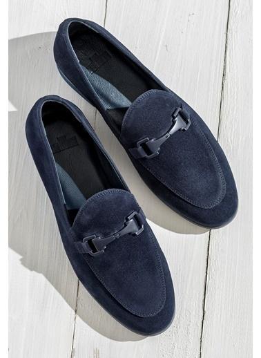 Elle %100 Deri Loafer Ayakkabı Mavi